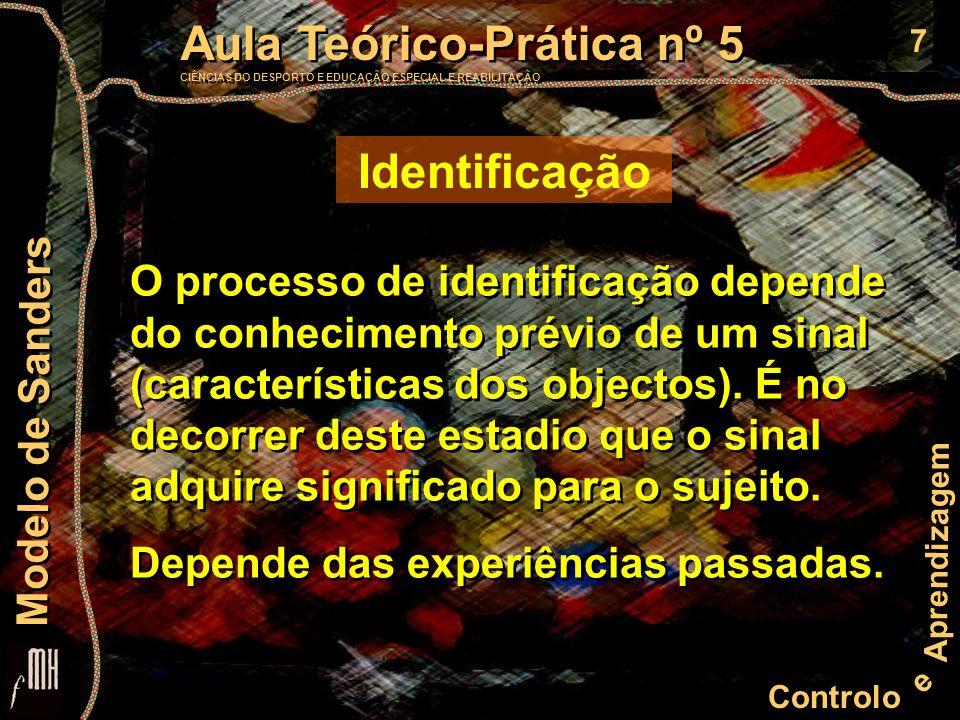 8 Controlo e Aprendizagem Aula Teórico-Prática nº 5 CIÊNCIAS DO DESPORTO E EDUCAÇÃO ESPECIAL E REABILITAÇÃO Aula Teórico-Prática nº 5 CIÊNCIAS DO DESPORTO E EDUCAÇÃO ESPECIAL E REABILITAÇÃO Modelo de Sanders Selecção da resposta (S) S S Vertente Decisional Estímulos Codificação Extracção das características Selecção da resposta Carregamento do programa Ajustamento motor Efecção Programação motora Identificação Áreas 9/10/11/46 de Brodman