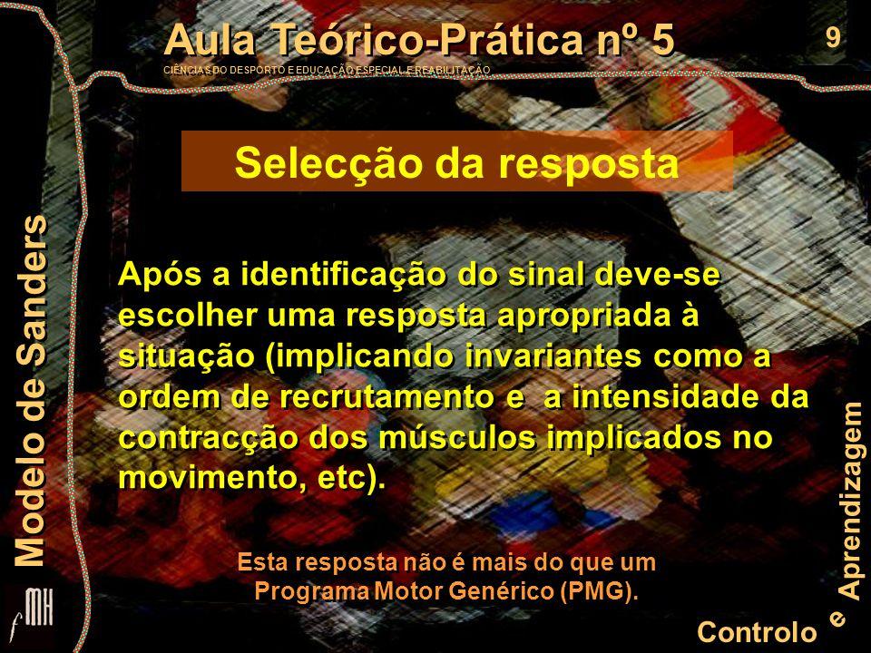 10 Controlo e Aprendizagem Aula Teórico-Prática nº 5 CIÊNCIAS DO DESPORTO E EDUCAÇÃO ESPECIAL E REABILITAÇÃO Aula Teórico-Prática nº 5 CIÊNCIAS DO DESPORTO E EDUCAÇÃO ESPECIAL E REABILITAÇÃO Modelo de Sanders Programação motora (P) Carregamento do programa (C) Ajustamento motor (A) P P C C A A A A Cerebelo Estruturas sub-corticais Vertente Motora Estímulos Codificação Extracção das características Selecção da resposta Carregamento do programa Ajustamento motor Efecção Programação motora Identificação Área 6 de Brodman Área 4 de Brodman