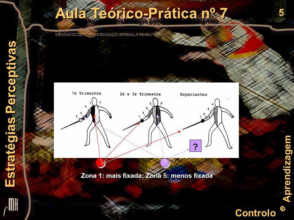 5 Controlo e Aprendizagem Aula Teórico-Prática nº 7 CIÊNCIAS DO DESPORTO E EDUCAÇÃO ESPECIAL E REABILITAÇÃO Aula Teórico-Prática nº 7 CIÊNCIAS DO DESPORTO E EDUCAÇÃO ESPECIAL E REABILITAÇÃO Estratégias Perceptivas .