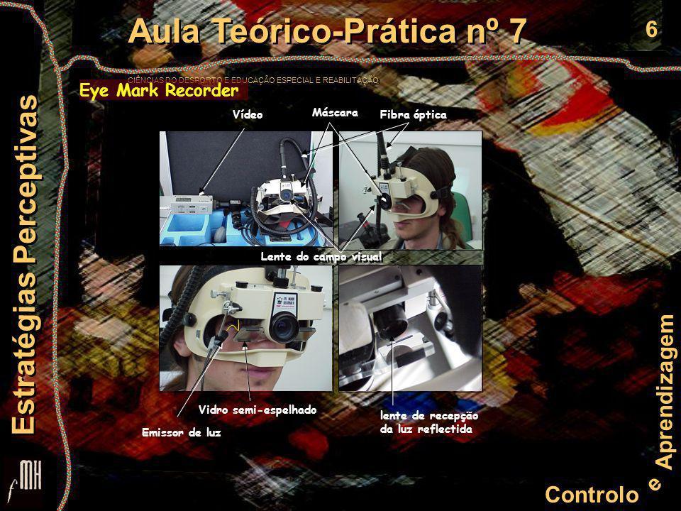 6 Controlo e Aprendizagem Aula Teórico-Prática nº 7 CIÊNCIAS DO DESPORTO E EDUCAÇÃO ESPECIAL E REABILITAÇÃO Aula Teórico-Prática nº 7 CIÊNCIAS DO DESPORTO E EDUCAÇÃO ESPECIAL E REABILITAÇÃO Estratégias Perceptivas Eye Mark Recorder Máscara Fibra ópticaVídeo Emissor de luz Vidro semi-espelhado Lente do campo visual lente de recepção da luz reflectida