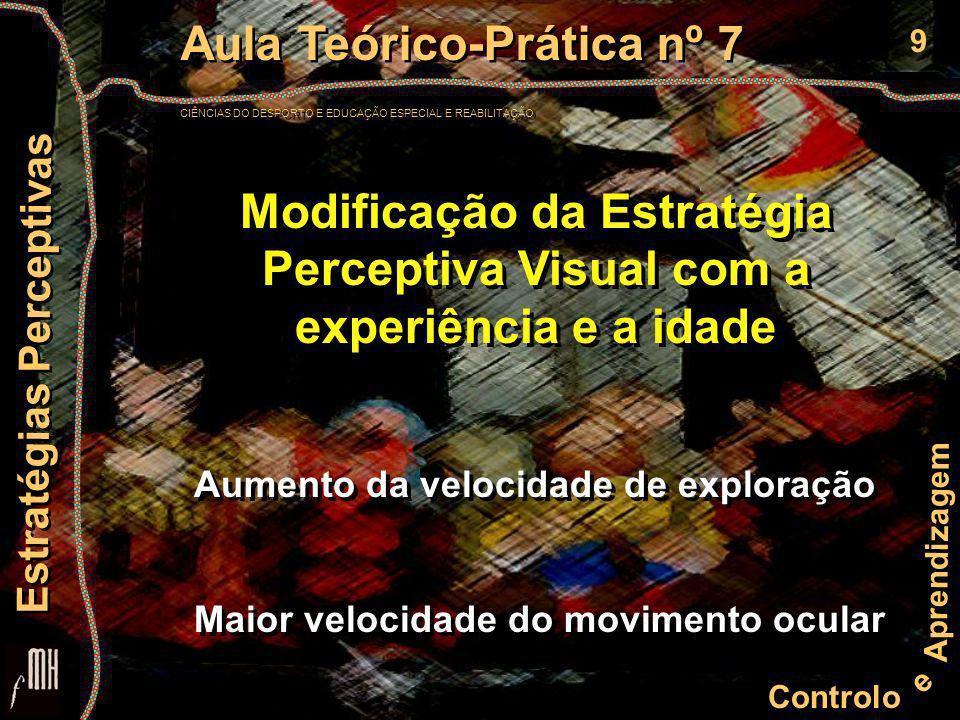 9 Controlo e Aprendizagem Aula Teórico-Prática nº 7 CIÊNCIAS DO DESPORTO E EDUCAÇÃO ESPECIAL E REABILITAÇÃO Aula Teórico-Prática nº 7 CIÊNCIAS DO DESPORTO E EDUCAÇÃO ESPECIAL E REABILITAÇÃO Estratégias Perceptivas Modificação da Estratégia Perceptiva Visual com a experiência e a idade Aumento da velocidade de exploração Maior velocidade do movimento ocular Aumento da velocidade de exploração Maior velocidade do movimento ocular
