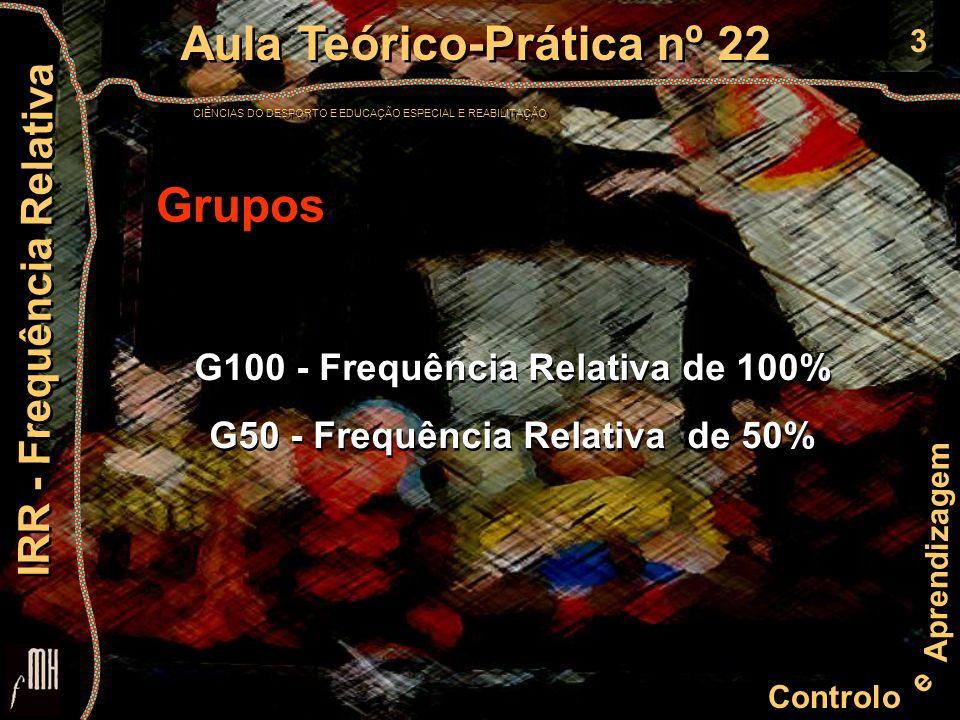 3 Controlo e Aprendizagem Aula Teórico-Prática nº 22 CIÊNCIAS DO DESPORTO E EDUCAÇÃO ESPECIAL E REABILITAÇÃO Aula Teórico-Prática nº 22 CIÊNCIAS DO DESPORTO E EDUCAÇÃO ESPECIAL E REABILITAÇÃO IRR - Frequência Relativa Grupos G100 - Frequência Relativa de 100% G50 - Frequência Relativa de 50% G100 - Frequência Relativa de 100% G50 - Frequência Relativa de 50%