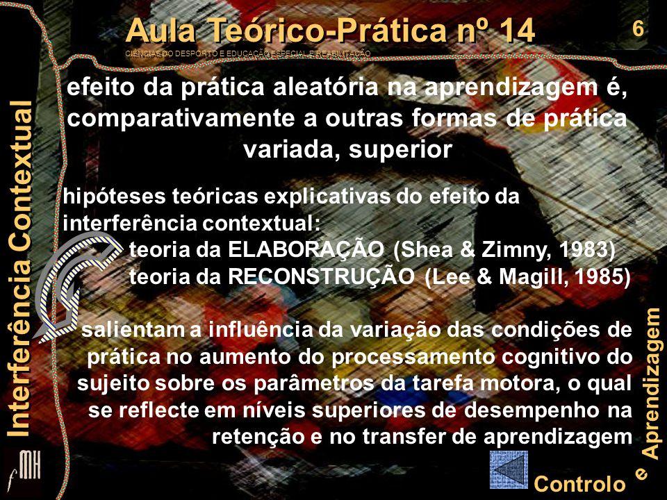 6 Controlo e Aprendizagem Aula Teórico-Prática nº 14 CIÊNCIAS DO DESPORTO E EDUCAÇÃO ESPECIAL E REABILITAÇÃO Aula Teórico-Prática nº 14 CIÊNCIAS DO DE