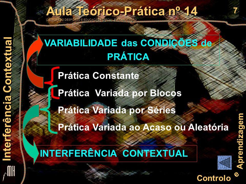 7 Controlo e Aprendizagem Aula Teórico-Prática nº 14 CIÊNCIAS DO DESPORTO E EDUCAÇÃO ESPECIAL E REABILITAÇÃO Aula Teórico-Prática nº 14 CIÊNCIAS DO DE