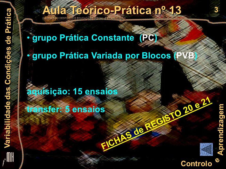 3 Controlo e Aprendizagem Aula Teórico-Prática nº 13 CIÊNCIAS DO DESPORTO E EDUCAÇÃO ESPECIAL E REABILITAÇÃO Aula Teórico-Prática nº 13 CIÊNCIAS DO DE