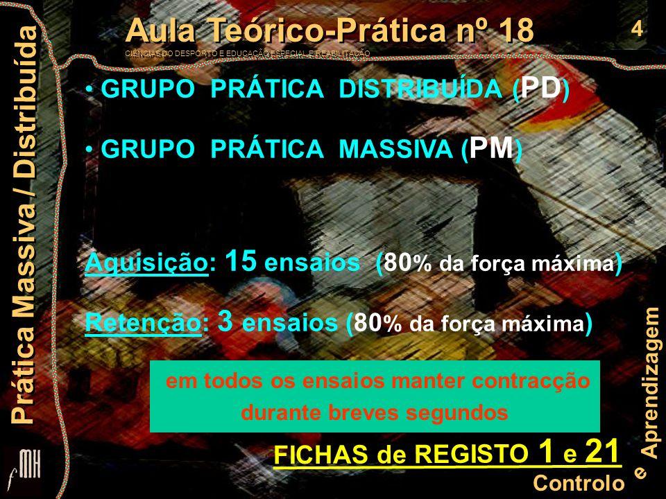 4 Controlo e Aprendizagem Aula Teórico-Prática nº 18 CIÊNCIAS DO DESPORTO E EDUCAÇÃO ESPECIAL E REABILITAÇÃO Aula Teórico-Prática nº 18 CIÊNCIAS DO DESPORTO E EDUCAÇÃO ESPECIAL E REABILITAÇÃO Prática Massiva / Distribuída GRUPO PRÁTICA DISTRIBUÍDA ( PD ) GRUPO PRÁTICA MASSIVA ( PM ) Aquisição: 15 ensaios (80 % da força máxima ) Retenção: 3 ensaios (80 % da força máxima ) FICHAS de REGISTO 1 e 21 em todos os ensaios manter contracção durante breves segundos