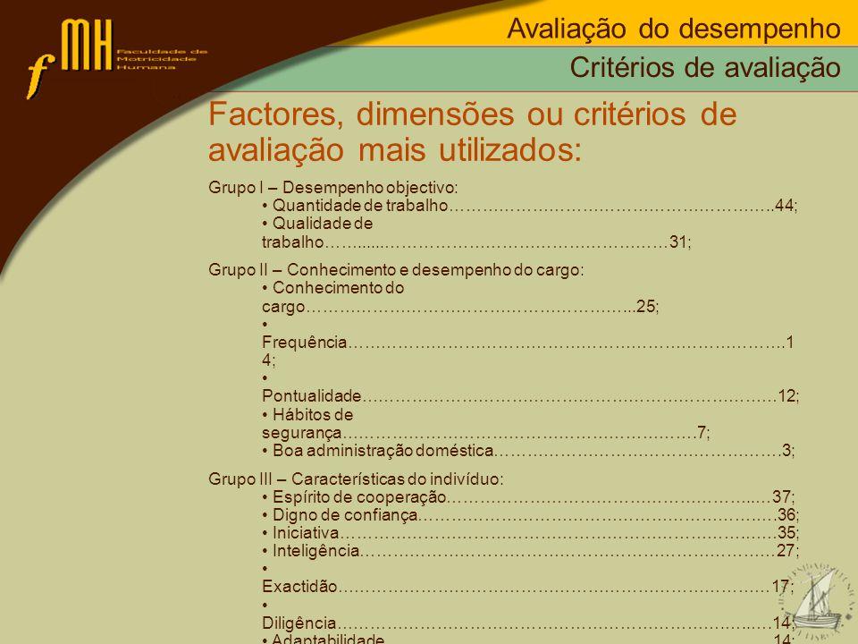 Critérios de avaliação Factores, dimensões ou critérios de avaliação mais utilizados: Grupo I – Desempenho objectivo: Quantidade de trabalho…………………………