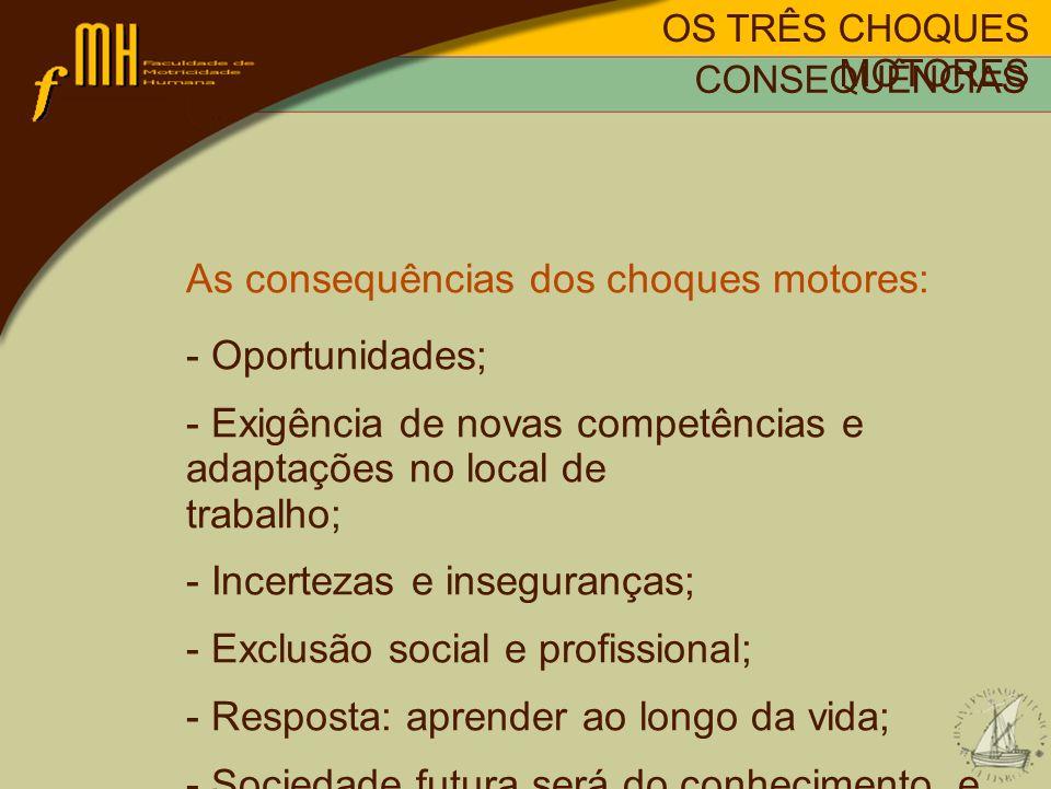 OS TRÊS CHOQUES MOTORES As consequências dos choques motores: - Oportunidades; - Exigência de novas competências e adaptações no local de trabalho; -
