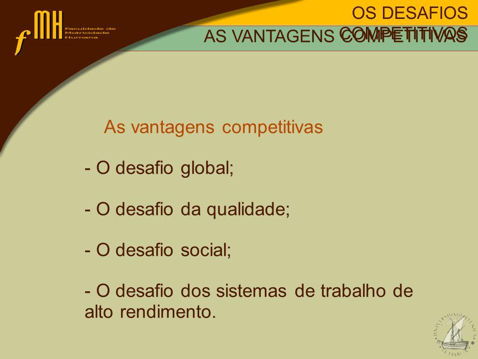 OS DESAFIOS COMPETITIVOS AS VANTAGENS COMPETITIVAS As vantagens competitivas - O desafio global; - O desafio da qualidade; - O desafio social; - O des