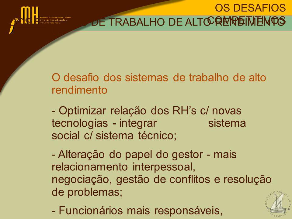OS DESAFIOS COMPETITIVOS O DESAFIO DOS SISTEMAS DE TRABALHO DE ALTO RENDIMENTO O desafio dos sistemas de trabalho de alto rendimento - Optimizar relaç