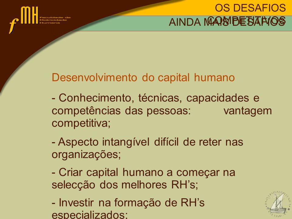OS DESAFIOS COMPETITIVOS AINDA MAIS DESAFIOS Desenvolvimento do capital humano - Conhecimento, técnicas, capacidades e competências das pessoas: vanta