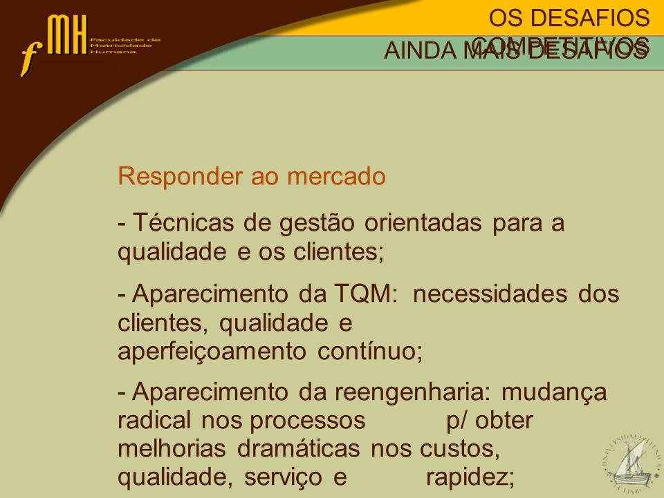OS DESAFIOS COMPETITIVOS AINDA MAIS DESAFIOS Responder ao mercado - Técnicas de gestão orientadas para a qualidade e os clientes; - Aparecimento da TQ