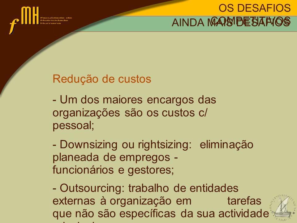 OS DESAFIOS COMPETITIVOS AINDA MAIS DESAFIOS Redução de custos - Um dos maiores encargos das organizações são os custos c/ pessoal; - Downsizing ou ri