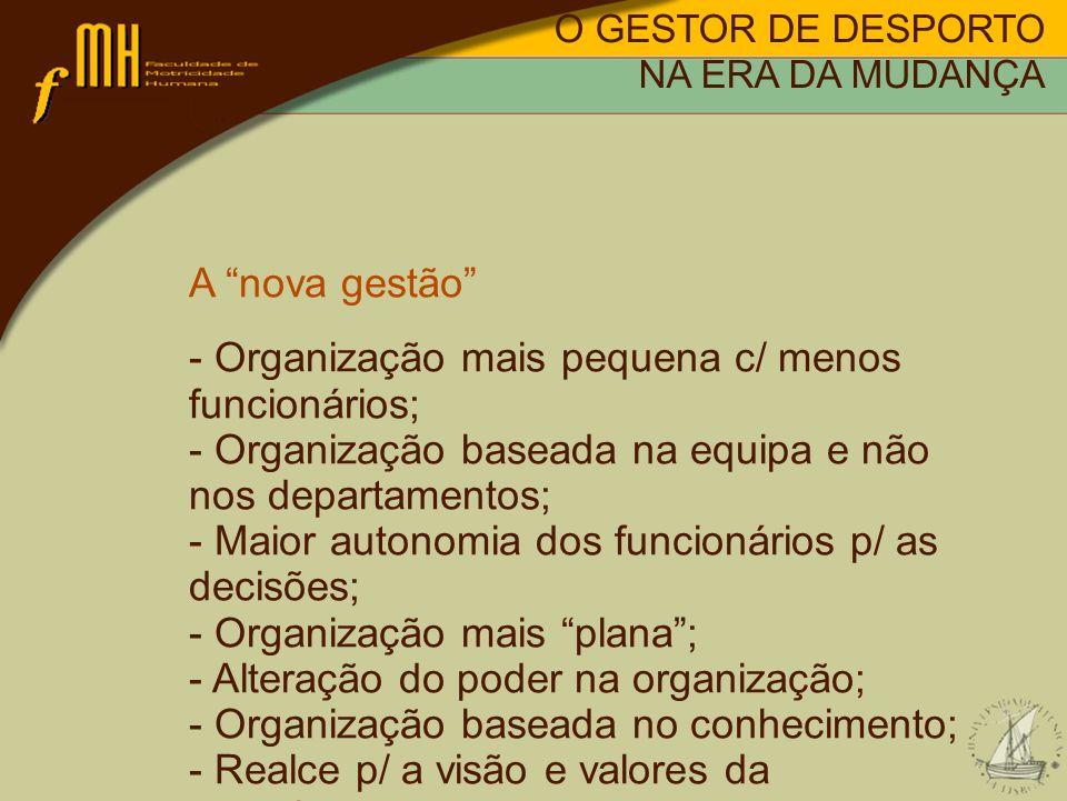A nova gestão - Organização mais pequena c/ menos funcionários; - Organização baseada na equipa e não nos departamentos; - Maior autonomia dos funcion