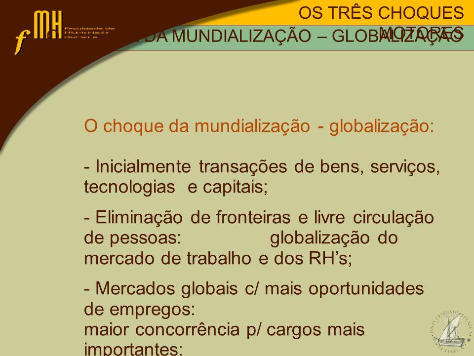 OS TRÊS CHOQUES MOTORES O choque da mundialização - globalização: - Inicialmente transações de bens, serviços, tecnologias e capitais; - Eliminação de