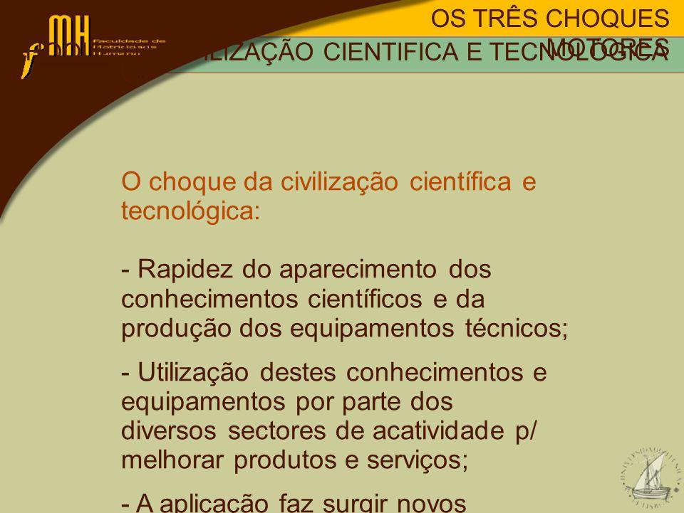 OS TRÊS CHOQUES MOTORES O choque da civilização científica e tecnológica: - Rapidez do aparecimento dos conhecimentos científicos e da produção dos eq