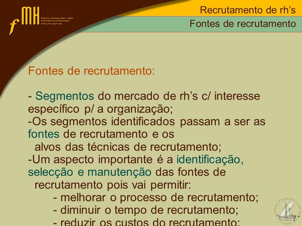 Fontes de recrutamento: - Segmentos do mercado de rhs c/ interesse específico p/ a organização; -Os segmentos identificados passam a ser as fontes de