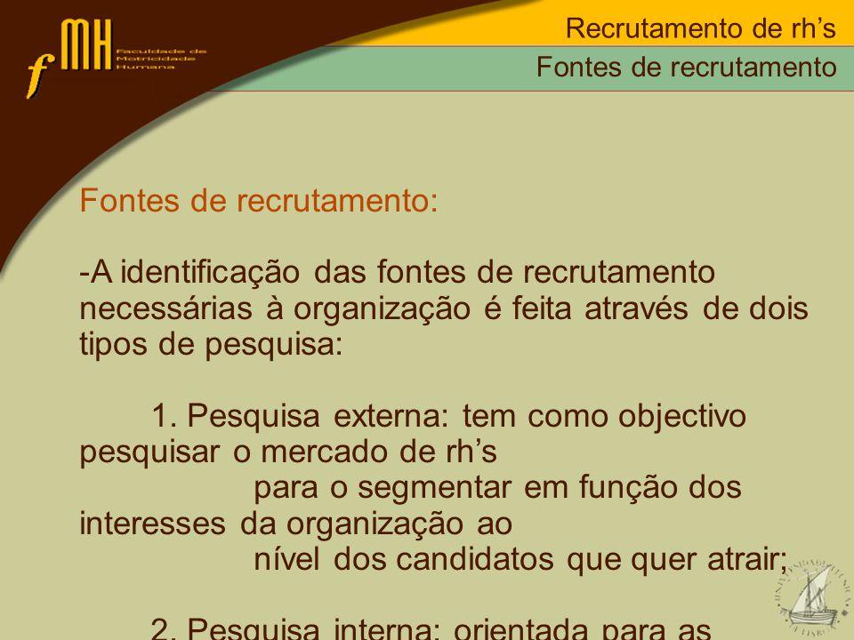 Recrutamento de rhs Fontes de recrutamento: -A identificação das fontes de recrutamento necessárias à organização é feita através de dois tipos de pes