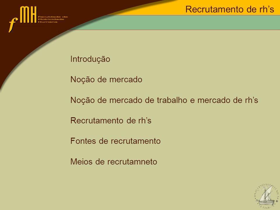 Recrutamento de rhs Recrutamento externo: Vantagens: novas experiências e actualização da organização; renovar os RHs da organização; aproveitar os investimentos na formação de RHs por outras organizações.