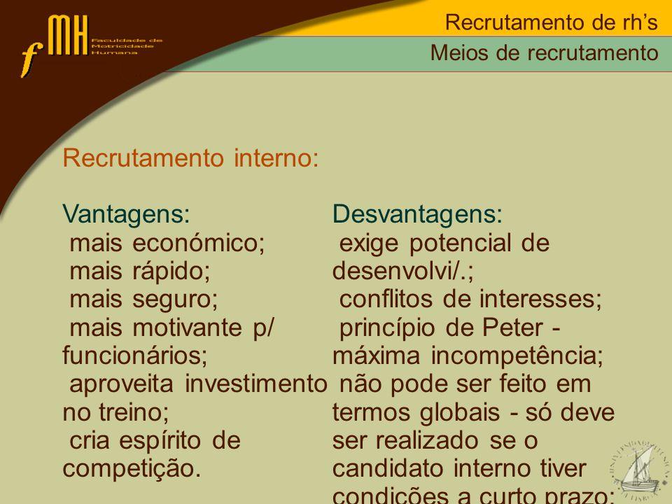 Recrutamento de rhs Recrutamento interno: Vantagens: mais económico; mais rápido; mais seguro; mais motivante p/ funcionários; aproveita investimento