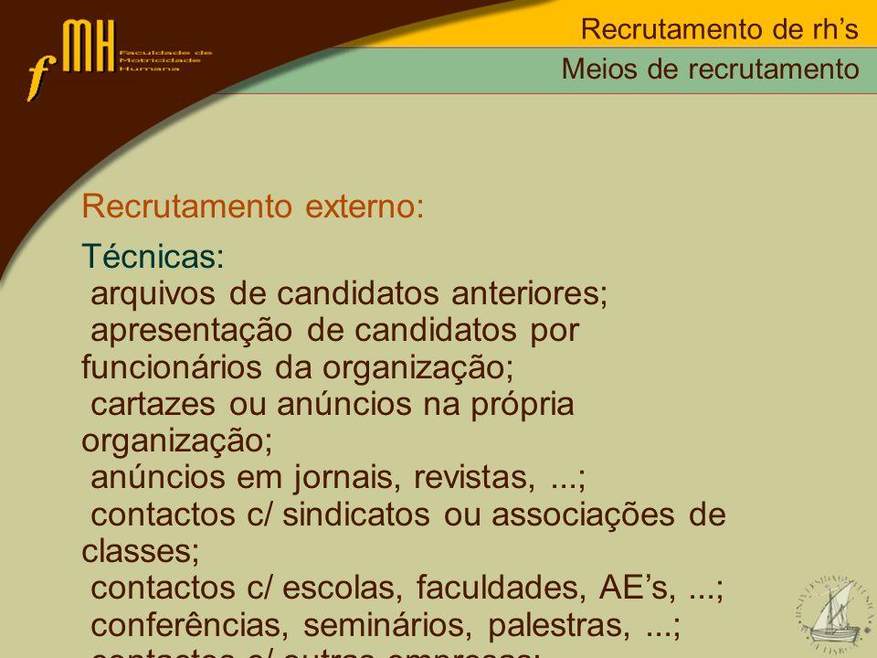 Recrutamento de rhs Recrutamento externo: Técnicas: arquivos de candidatos anteriores; apresentação de candidatos por funcionários da organização; car