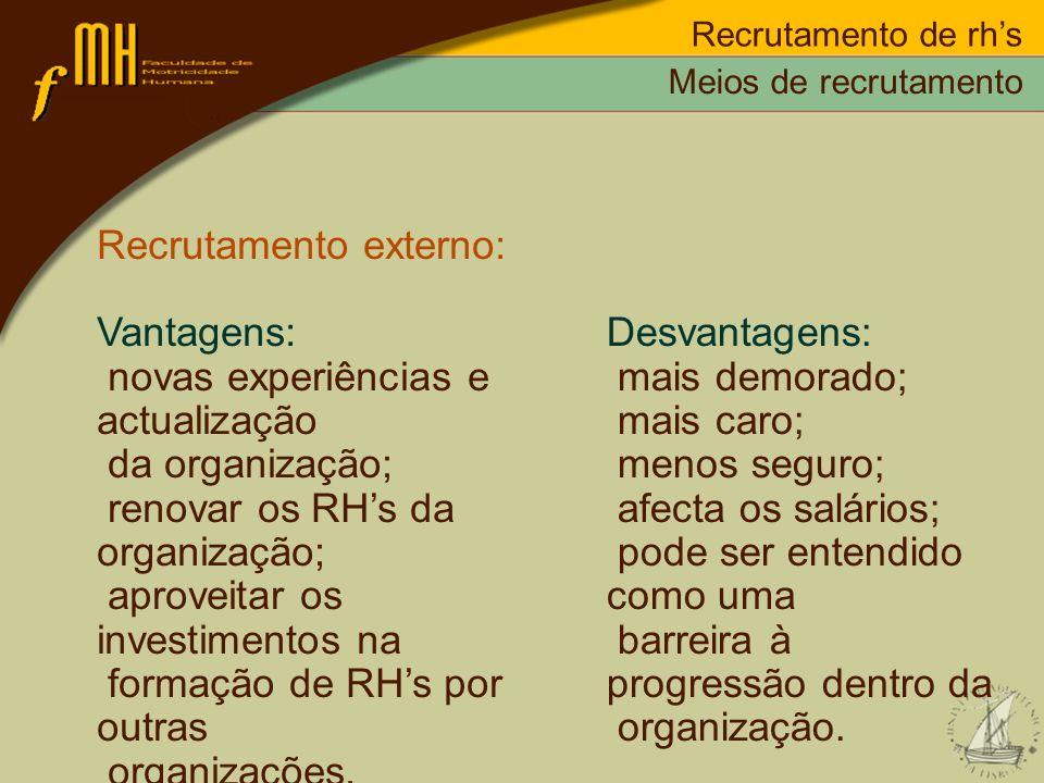 Recrutamento de rhs Recrutamento externo: Vantagens: novas experiências e actualização da organização; renovar os RHs da organização; aproveitar os in