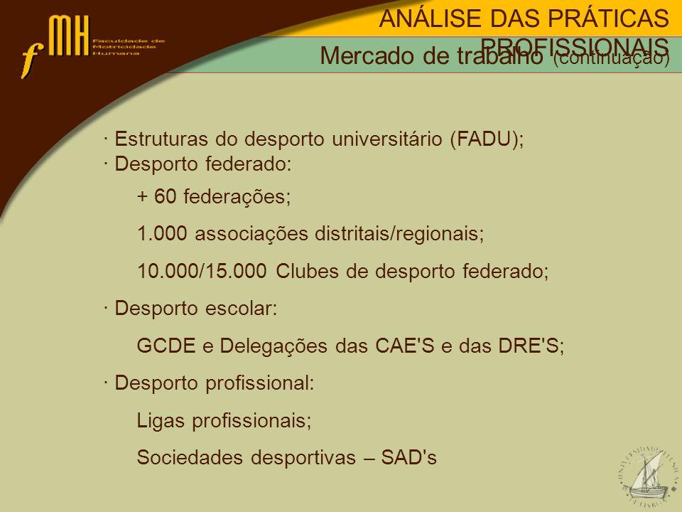 · Estruturas do desporto universitário (FADU); · Desporto federado: + 60 federações; 1.000 associações distritais/regionais; 10.000/15.000 Clubes de desporto federado; · Desporto escolar: GCDE e Delegações das CAE S e das DRE S; · Desporto profissional: Ligas profissionais; Sociedades desportivas – SAD s ANÁLISE DAS PRÁTICAS PROFISSIONAIS Mercado de trabalho (continuação)