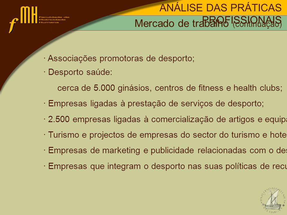 · Associações promotoras de desporto; · Desporto saúde: cerca de 5.000 ginásios, centros de fitness e health clubs; · Empresas ligadas à prestação de