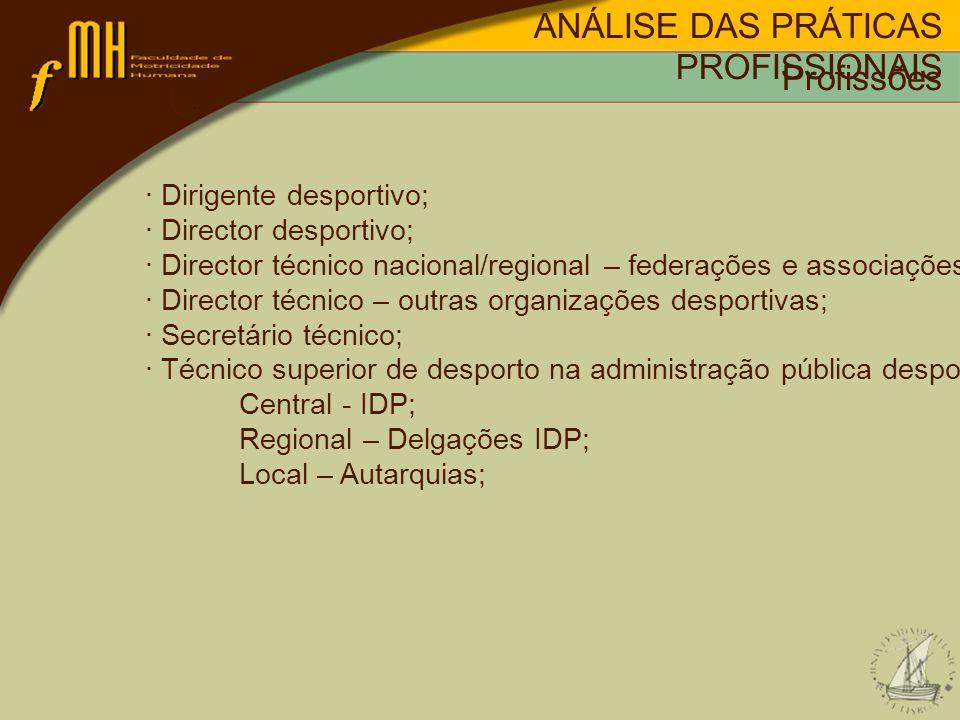 · Dirigente desportivo; · Director desportivo; · Director técnico nacional/regional – federações e associações; · Director técnico – outras organizaçõ