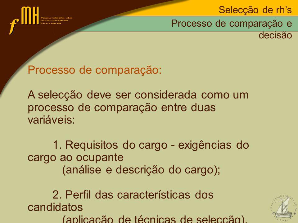 Processo de comparação: A selecção deve ser considerada como um processo de comparação entre duas variáveis: 1. Requisitos do cargo - exigências do ca