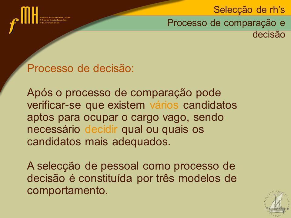 Selecção de rhs Processo de decisão: Após o processo de comparação pode verificar-se que existem vários candidatos aptos para ocupar o cargo vago, sen