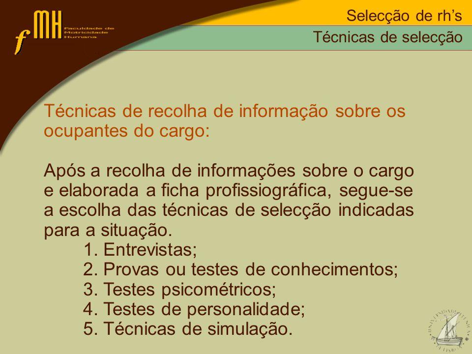Selecção de rhs Técnicas de recolha de informação sobre os ocupantes do cargo: Após a recolha de informações sobre o cargo e elaborada a ficha profiss