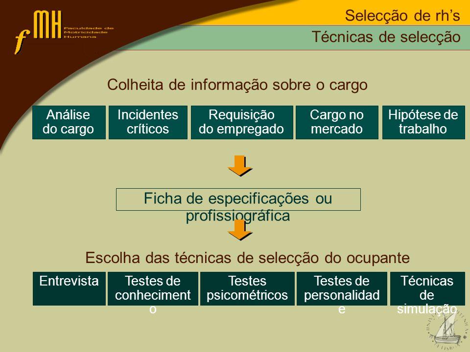 Selecção de rhs Técnicas de selecção Colheita de informação sobre o cargo Ficha de especificações ou profissiográfica Análise do cargo Incidentes crít