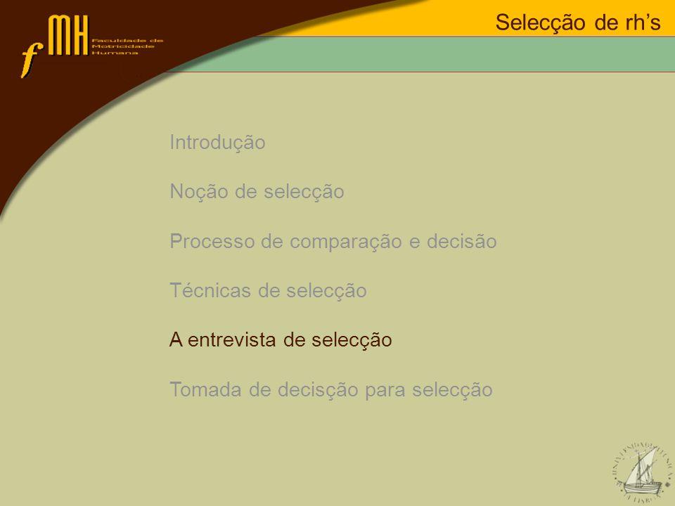 Introdução Noção de selecção Processo de comparação e decisão Técnicas de selecção A entrevista de selecção Tomada de decisção para selecção Selecção