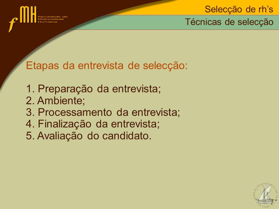 Selecção de rhs Etapas da entrevista de selecção: 1. Preparação da entrevista; 2. Ambiente; 3. Processamento da entrevista; 4. Finalização da entrevis