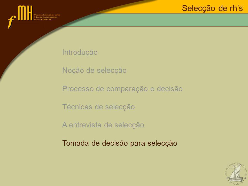 Introdução Noção de selecção Processo de comparação e decisão Técnicas de selecção A entrevista de selecção Tomada de decisão para selecção Selecção d