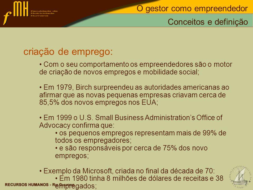 criação de emprego: Com o seu comportamento os empreendedores são o motor de criação de novos empregos e mobilidade social; Em 1979, Birch surpreendeu
