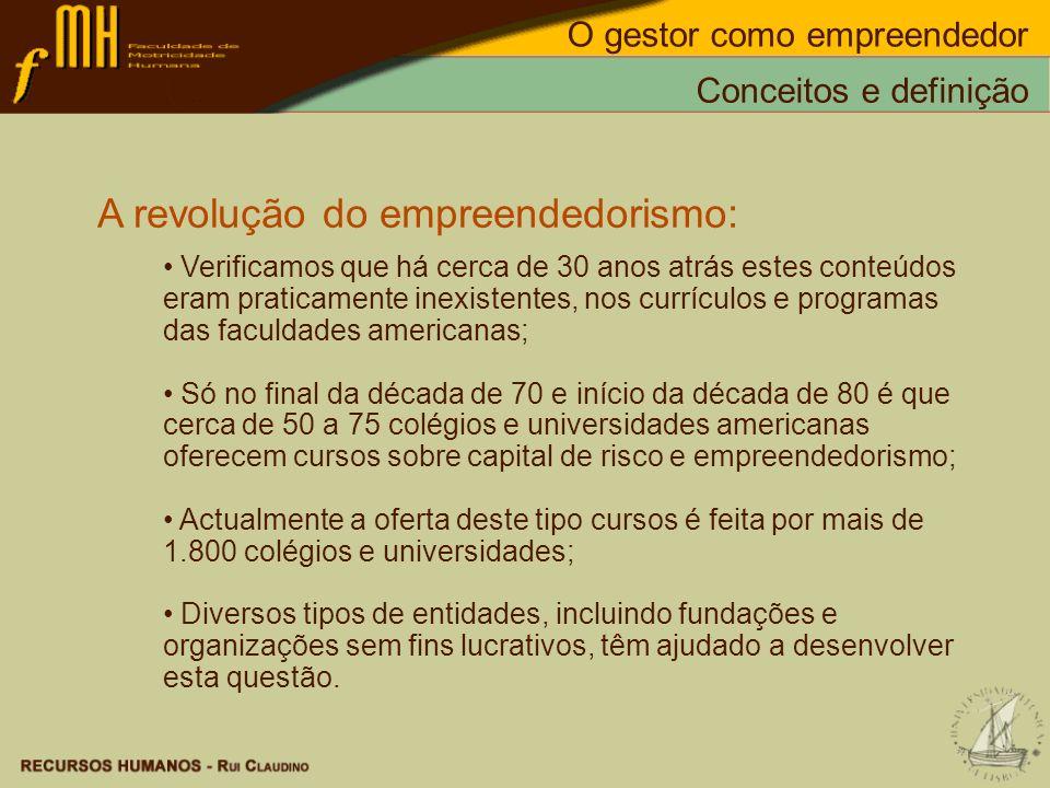 A revolução do empreendedorismo: Verificamos que há cerca de 30 anos atrás estes conteúdos eram praticamente inexistentes, nos currículos e programas