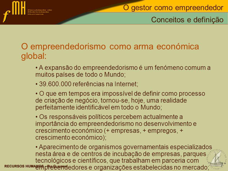 O empreendedorismo como arma económica global: A expansão do empreendedorismo é um fenómeno comum a muitos países de todo o Mundo; 39.600.000 referênc