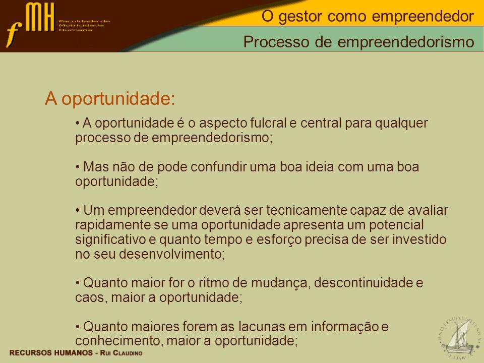 Processo de empreendedorismo A oportunidade: A oportunidade é o aspecto fulcral e central para qualquer processo de empreendedorismo; Mas não de pode