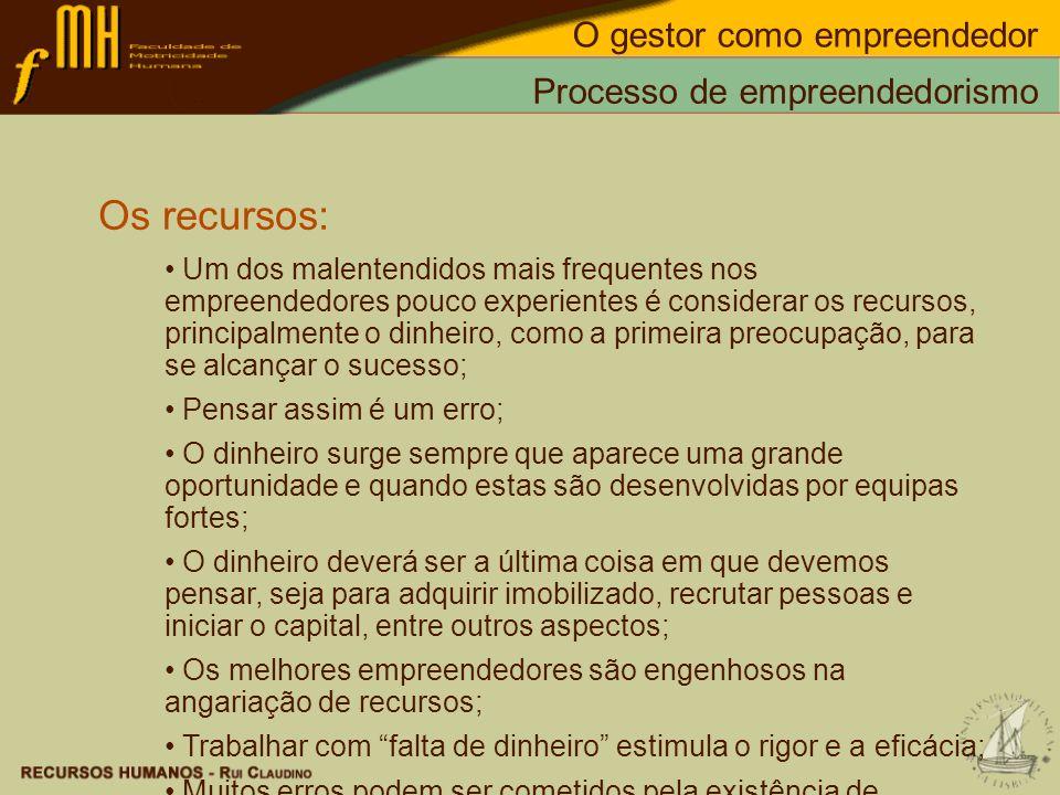 Processo de empreendedorismo Os recursos: Um dos malentendidos mais frequentes nos empreendedores pouco experientes é considerar os recursos, principa