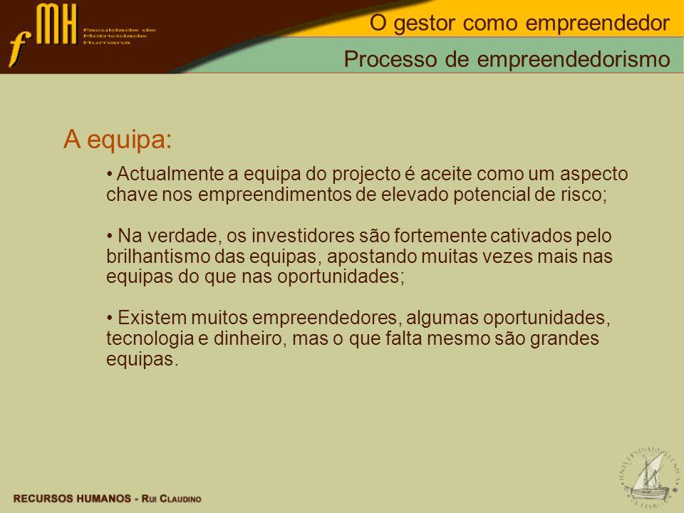 Processo de empreendedorismo A equipa: Actualmente a equipa do projecto é aceite como um aspecto chave nos empreendimentos de elevado potencial de ris