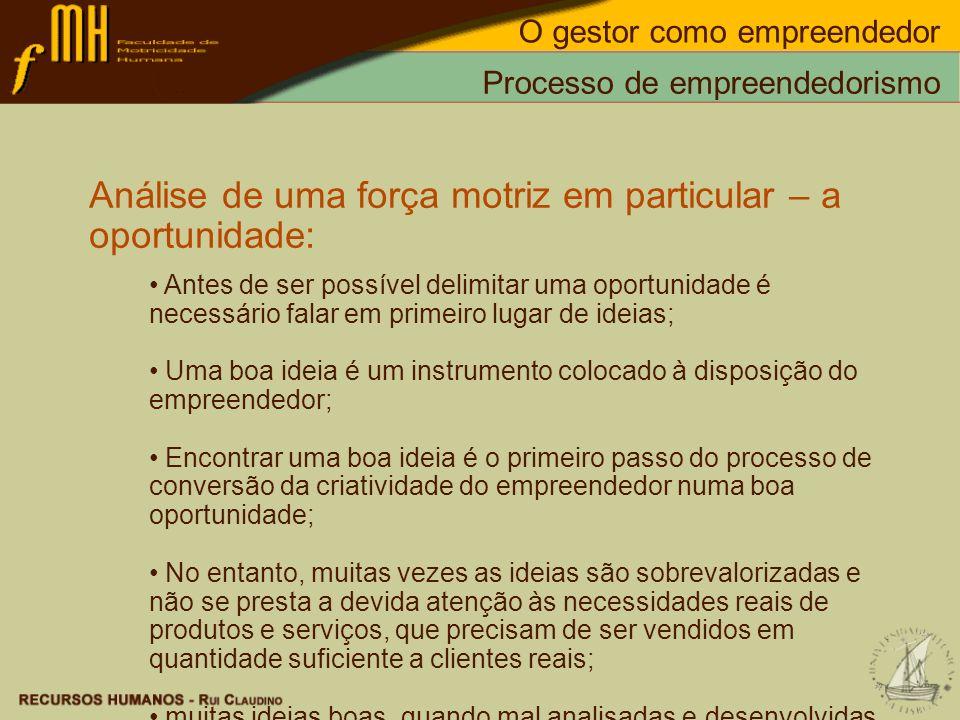 Processo de empreendedorismo Análise de uma força motriz em particular – a oportunidade: Antes de ser possível delimitar uma oportunidade é necessário