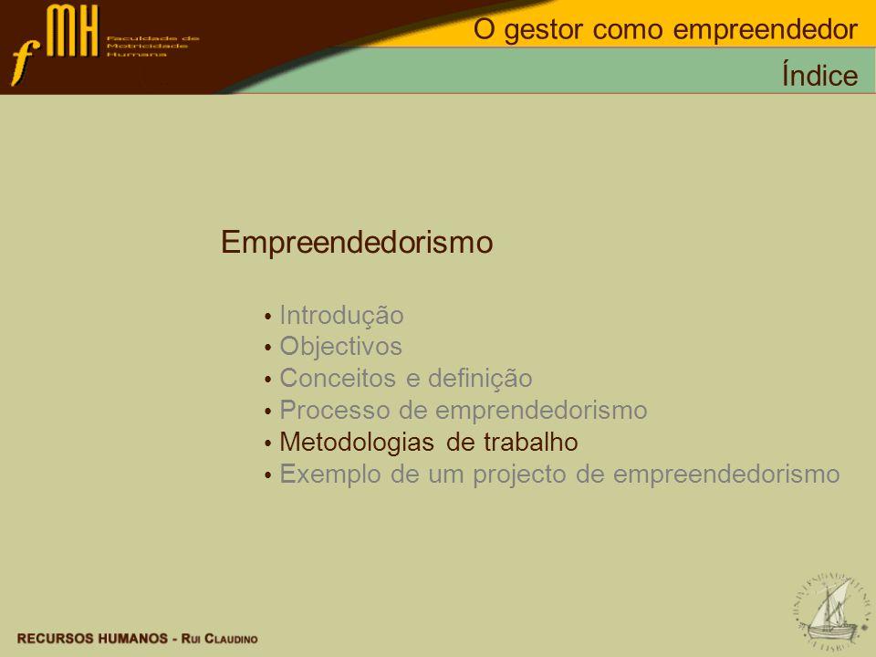 Empreendedorismo Introdução Objectivos Conceitos e definição Processo de emprendedorismo Metodologias de trabalho Exemplo de um projecto de empreended