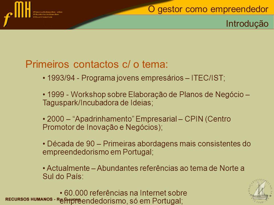 Primeiros contactos c/ o tema: 1993/94 - Programa jovens empresários – ITEC/IST; 1999 - Workshop sobre Elaboração de Planos de Negócio – Taguspark/Inc