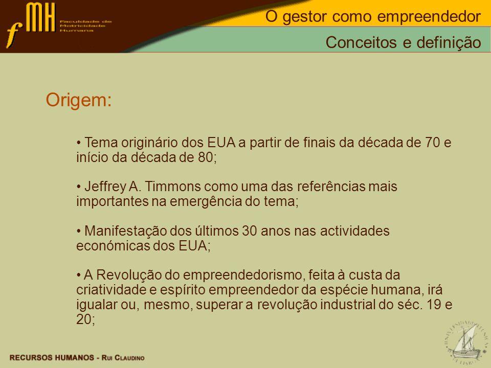 Origem: Tema originário dos EUA a partir de finais da década de 70 e início da década de 80; Jeffrey A. Timmons como uma das referências mais importan