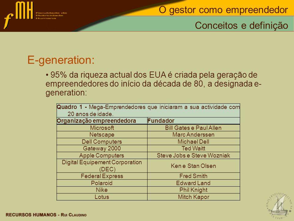 E-generation: 95% da riqueza actual dos EUA é criada pela geração de empreendedores do início da década de 80, a designada e- generation: Conceitos e
