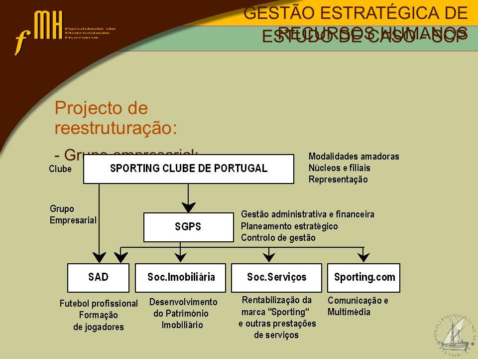 Projecto de reestruturação: Grupo empresarial: -SCP; -SGPS; -SAD; -Soc.