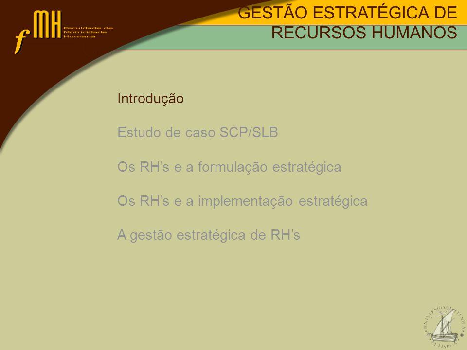 Sucesso da implementação estratégica: Cinco variáveis; 1 - Estrutura organizacional; 2 - Desenho/definição de tarefas/cargos; 3 - Selecção, treino e desenvolvimento de rhs; 4 - Sistemas de recompensas; 5 - Tipos de informação e sistemas de informação.