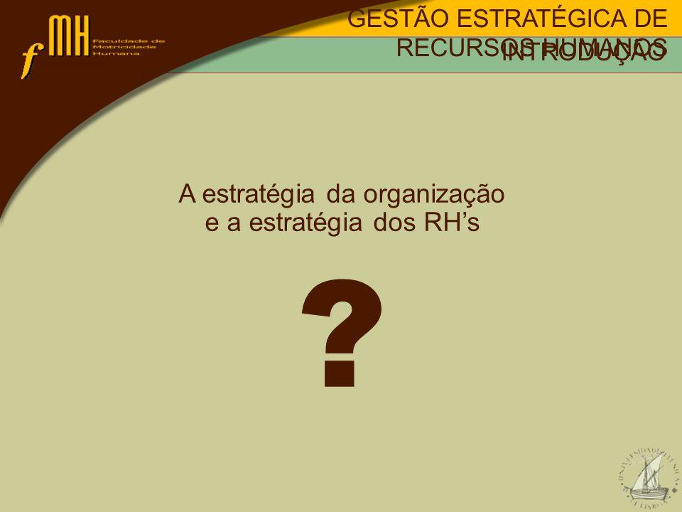 A estratégia da organização e a estratégia dos RHs ? INTRODUÇÃO